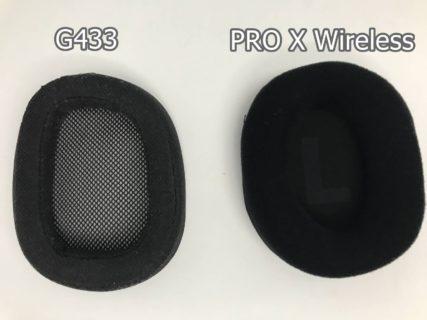 Logicool G433とLogicool G PRO X WirelessゲーミングヘッドセットはメッシュタイプのイヤーパッドがあるがG433はメッシュの目が粗い、PRO X Wirelessは目が細かく柔らかい素材で違いがある